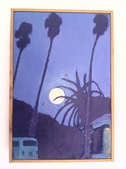 Painting by Allan Gibbons of the full moon rising behind palm trees in Santa Barbara