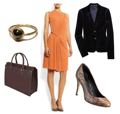 orange dress for work outfit3