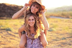 Piggyback! (katie ruthh) Tags: girls sunlight smile happy katie hannah fields cowboyhat piggyback goldenhour