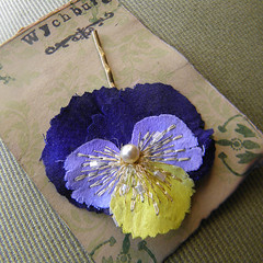 Heartsease Clip (Wychbury Designs) Tags: uk blue wedding flower yellow hair bride pin handmade pansy clip fabric bridesmaid bobby accessories etsy bridal viola embroidered tricolour johnnyjumpup accessory folksy heartsease wychbury