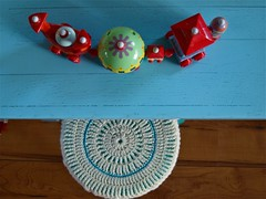 From above (*Mirre*) Tags: blue home crochet cover stool kisskus