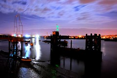river medway by night (collardog) Tags: light sea sky water night river pier industrial mud submarine boad banks pontoon