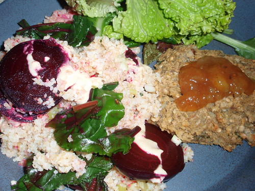 Beets and Greens with Bulgur and Miso Tahini Sauce; Curried Eggplant and Garbanzo Patties