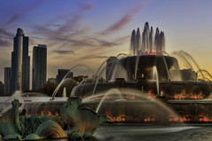 Buckingham Fountain II (rseidel3) Tags: sunset chicago fall water fountain hdr