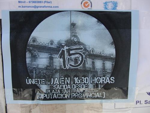 Cartel convocando la marcha del 15O en Jaén