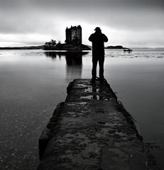 THE CASTLE STALKER (kenny barker) Tags: bw castle water monochrome silhouette landscape scotland boat jetty castlestalker lochlinnhe lochlaich redmatrix