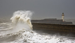 Stormy Seas (marra121) Tags: sea lighthouse water pier waves foam cumbria storms whitehaven