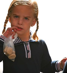 Girl with a Pearl Earring (and cookies): Who are you, Sir? (ybiberman) Tags: portrait girl cookies backlight israel blueeyes jerusalem earring braid ultraorthodox blondhair meashearim pearlearring