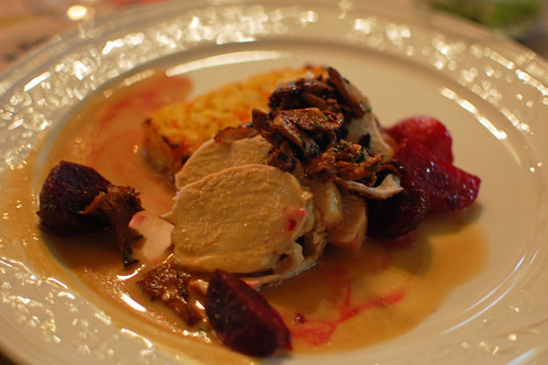 Chicken with Chanterelles and Beetroot
