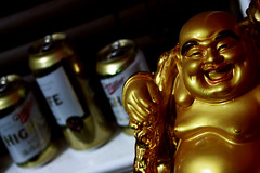 19/365 (BCalico) Tags: chicago beer smile gold hand buddha fat shelf ledge blinds 365 highlife tallboy