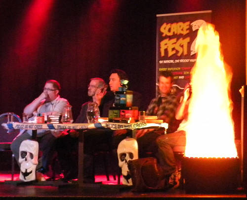 Tommy Donbavand, Joseph Delaney, Barry Hutchison, Jon Mayhew and Curtis Jobling behind the fire at Sefton ScareFest