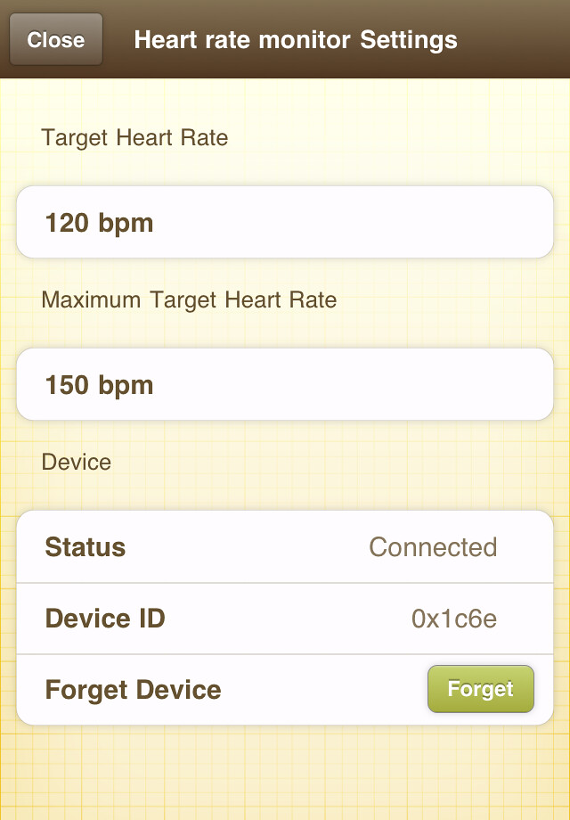 Kinetic heart rate monitor settings