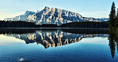 Blue Morning Reflection at Two Jack (Jeff Clow) Tags: morning reflection nature landscape albertacanada banffnationalpark twojacklake dcptbanff