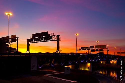 Sunset under the bridge