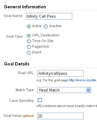 Setting up call tracking goals in Google Analytics