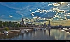 Saxony's beauty (lingundus) Tags: bridge blue sky cloud reflection green church skyline c