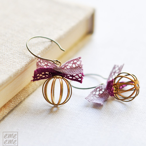 Earrings Brass bead cages and pink and  purple lace bows