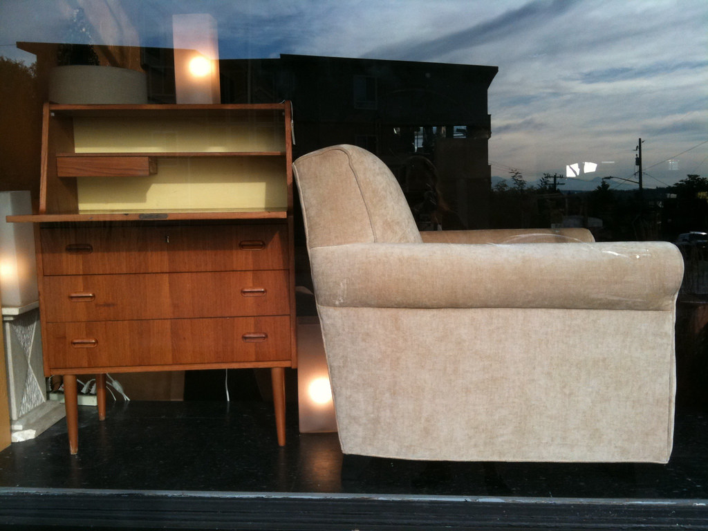 Danish Teak secretary desk - Crate & Barrel occasional chair