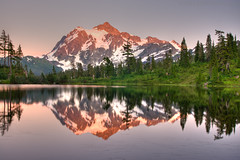 A Cliched Reflection (satosphere) Tags: sunset reflection washington nationalparks hdr mtshuksan northcascadesnationalpark picturelake tamron1750mmf28 mountbakerwilderness sonydslra700