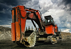 Paradox (Peeping Dragon Photography) Tags: sky cloud mountain west industry virginia nikon mine track industrial top machine mining wv hoe shovel removal hitachi d300s
