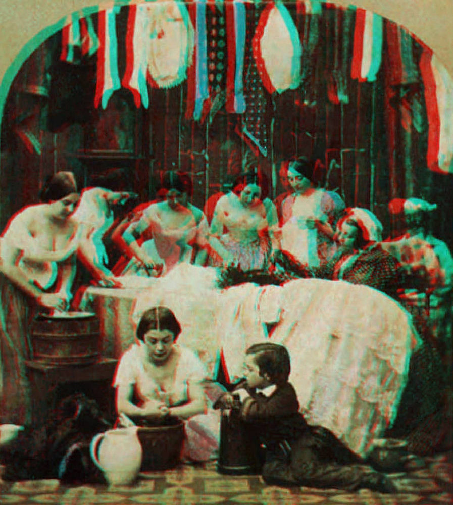 Laundry Day Tinted Portrait by Anthony [1858] (Anaglyph)