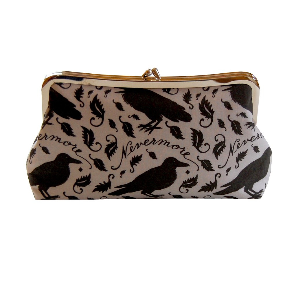 Clutch purse with black raven on gray - inspired by Edgar Allan Poe