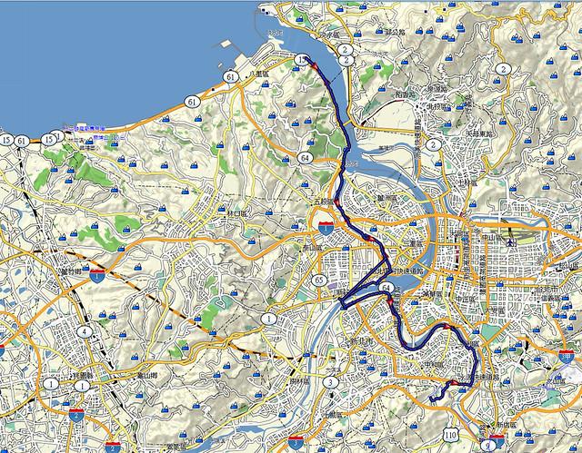 11.10.22.中和秀朗橋-八里左岸 單車騎乘路線圖