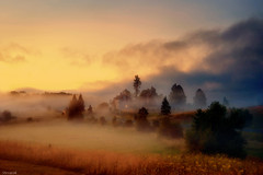 Croatian village at dusk (Stevacek) Tags: sunset mist fog rural sunrise evening twilight nikon europe village dusk rustic meadow croatia idyllic stevacek d700