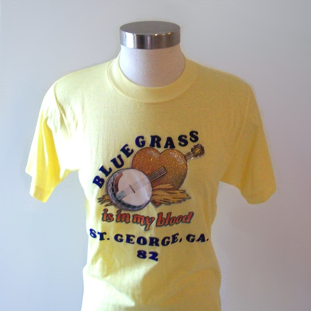 Vintage 80s Bluegrass Yellow T-Shirt Size Medium