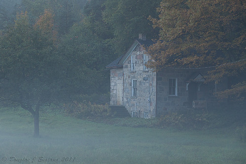 misty morning farmhouse by D J England
