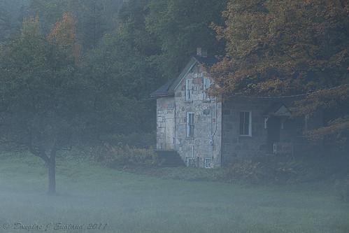 misty morning farmhouse by D J England