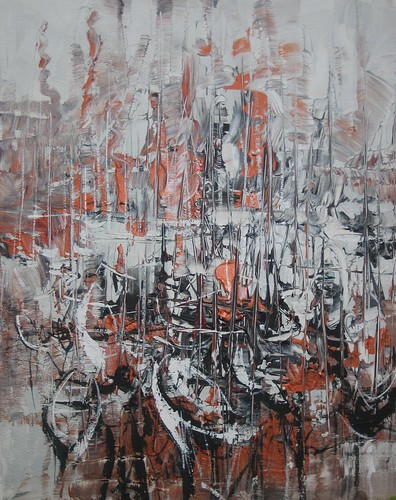 Boats in Harbour - Painting - Abstract