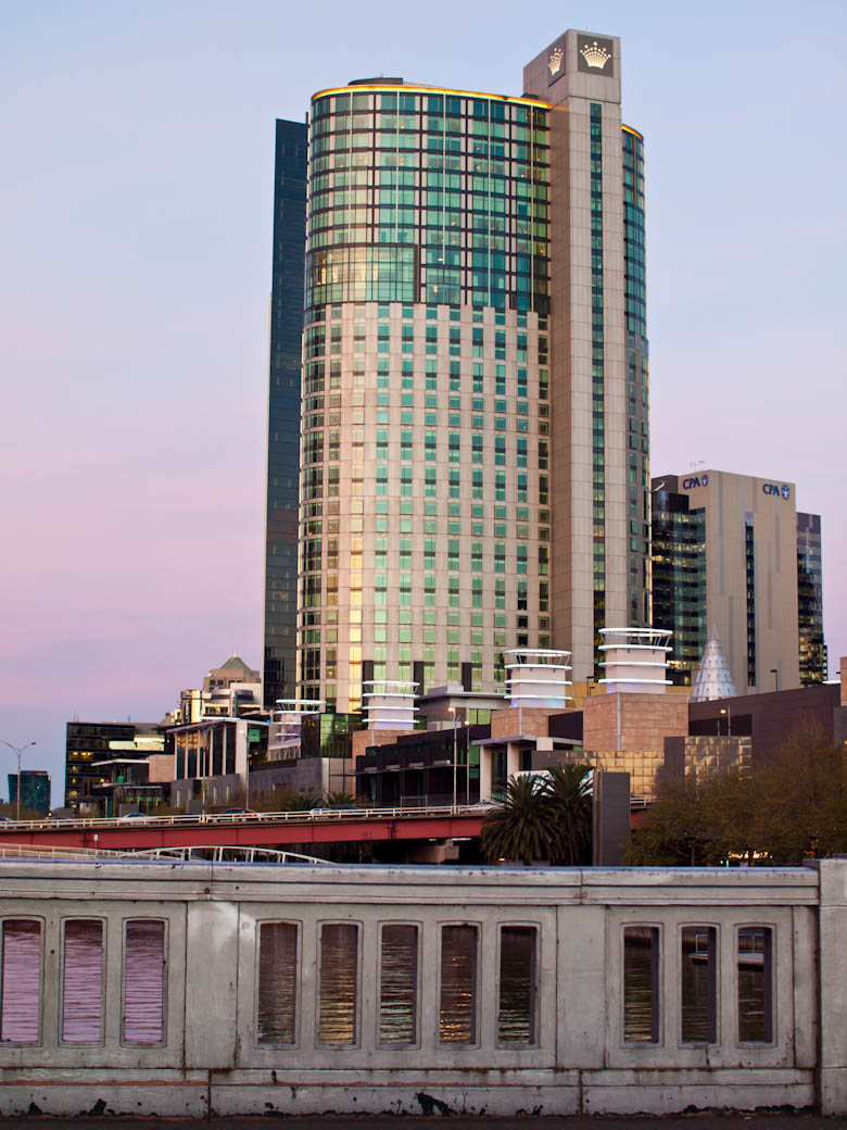 Crown Towers, Melbourne at dusk