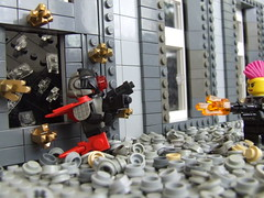 Shotgun Shells and Flying Glass (Shadow Viking) Tags: glass lego tea scene shotgun nato moc