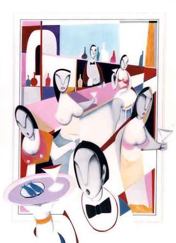 Cannes Promenade Restaurant  Painting Original