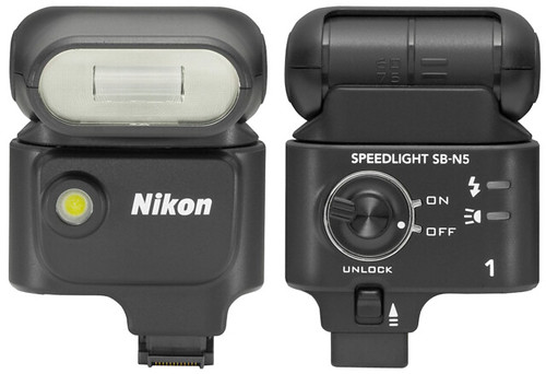 Nikon 1 SB-N5 Speedlight Flash -- Front and Rear Views