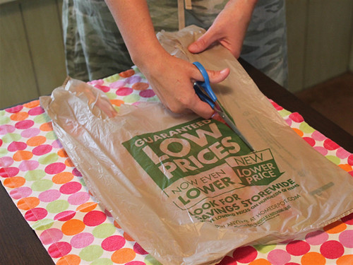 cutting up the plastic bag