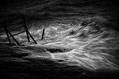 #850C3466B&W- The midnight sea (crimsonbelt) Tags: sea beach blackwhite midnight slowshutter balikpapan melawai