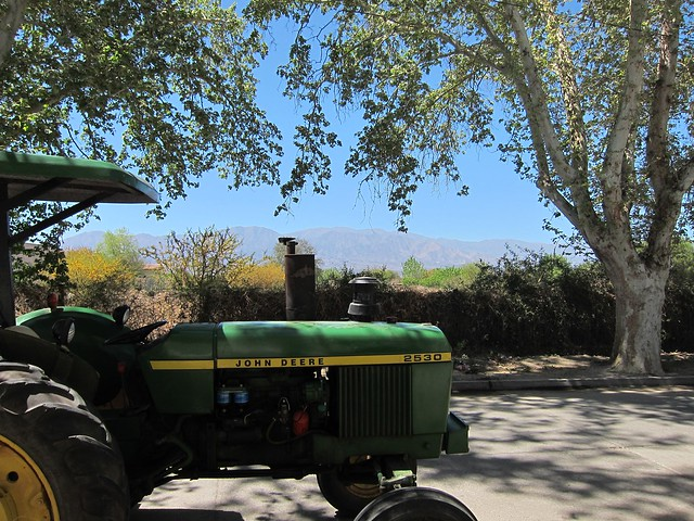 Tractor & Mountains in Cafayate
