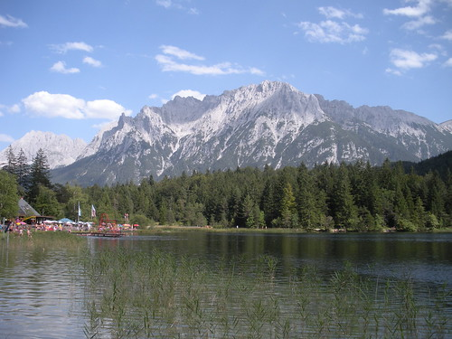 Lautersee with beach Mittenwald Bavaria Germany