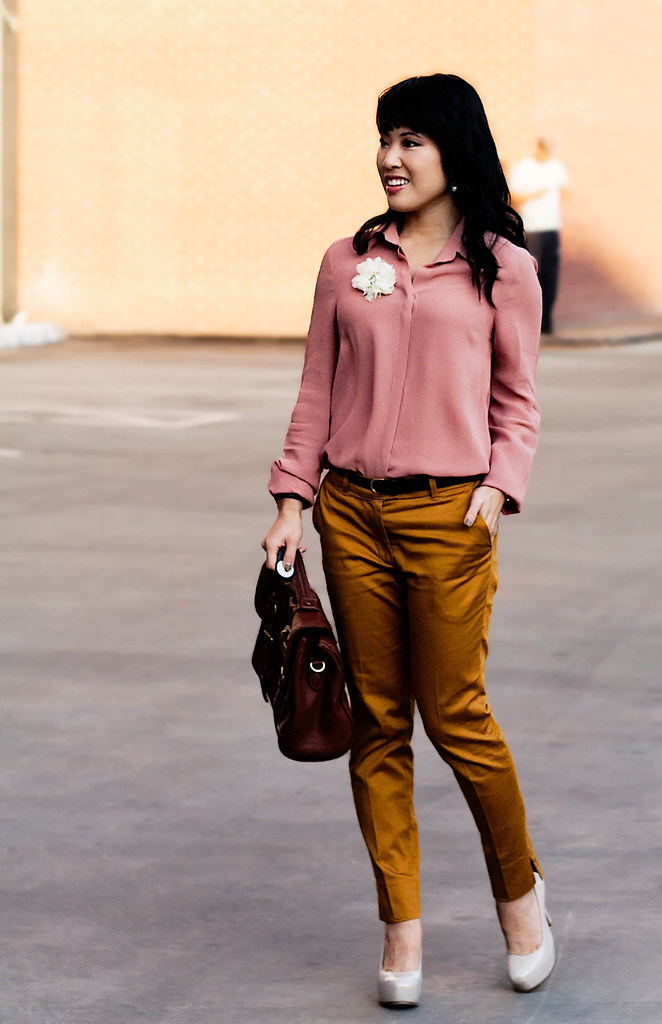 forever 21 love 21 semi-sheer apricot button up, olsenboye faux fur white vest, h&m mustard cropped pants, sole society marco santi dash nude pumps, mk5430, tjmaxx vieta lucille buckle satchel, enzo milano 25mm clipless wand,