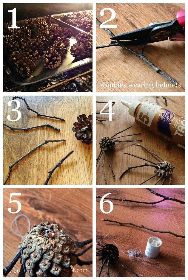 pine cone spider mobile how-to
