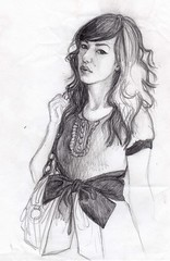 pencil sketch of fashion girl with bow belt (Girl Eats Art) Tags: girl fashion pencil sketch bow