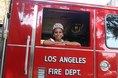 NAMiss California Dante Ricks donating bears to the LAFD