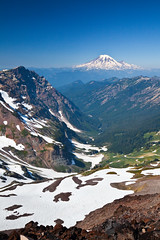 Mount Rainier Viewed from the Goat Rocks (Lee Rentz) Tags: wild usa mountains nature america volcano washington high northwest hiking path peak backpacking mountrainier cascades pacificnorthwest northamerica wa pacificcresttrail pct peaks washingtonstate cascademountains cascaderange goatrocks goatrockswilderness giffordpinchotnationalforest pacificcrestnationalscenictrail