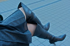Black Boots 72 (Ayanami_No03) Tags: woman stockings japan tokyo legs boots skirt   blackboots   eoskissx4 eos550d