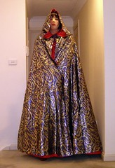 The Scarlet Governess (16) (Furre Ausse) Tags: red boots metallic skirt blouse full gloves dome corset cape cloak satin mistress length domina governess gouvernante