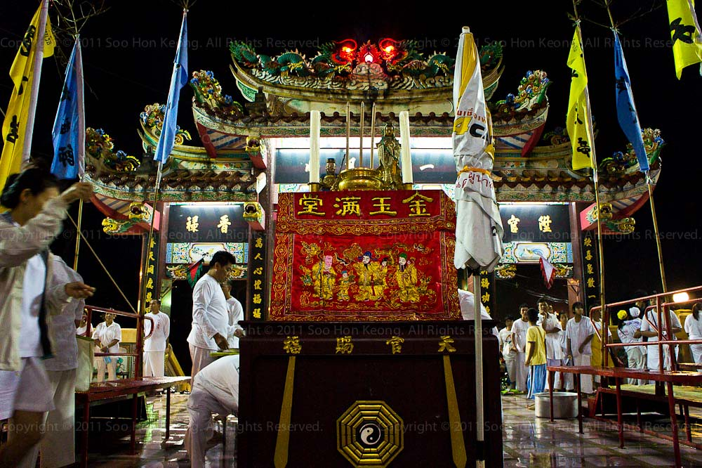 Altar Bridge used for Crossing for Purification @ Ban Tha Rue Shrine, Phuket Vegetarian festival 2011, Phuket, Thailand