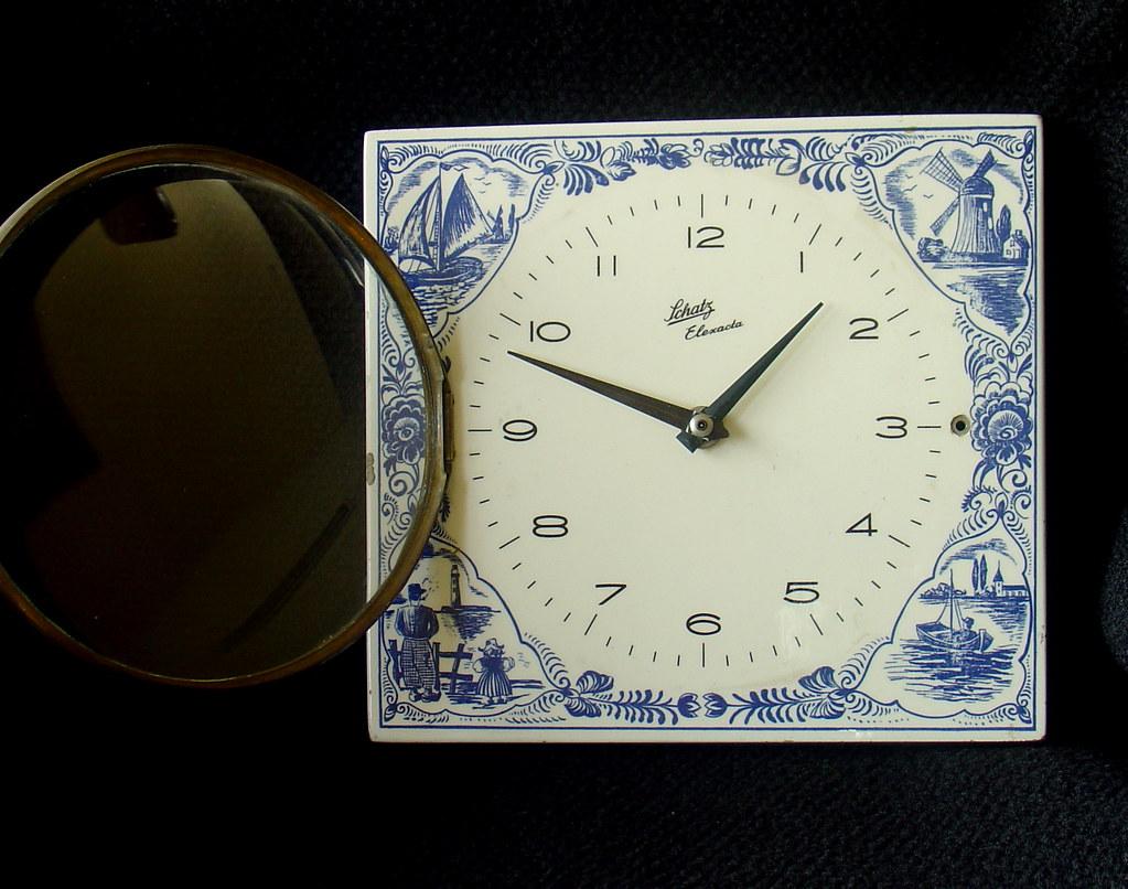 Vintage Ceramic Kitchen Clock Schatz Elexacta Junghas