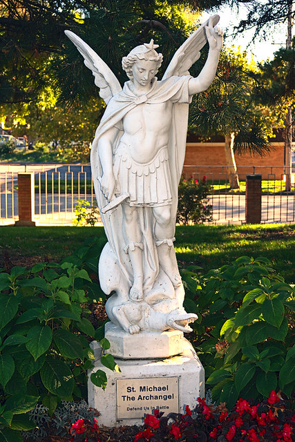 Little Sisters of the Poor, in Saint Louis, Missouri, USA - statue of Saint Michael the Archangel